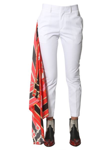 Msgm - Mixed Cotton Trousers With Scarf Detail