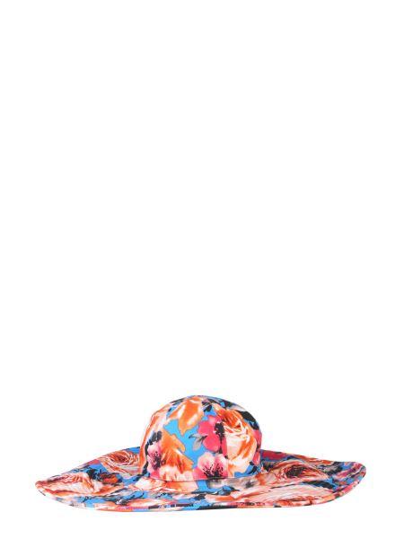 Msgm - Cappello A Tesa Larga In Cotone Con Stampa Floreale