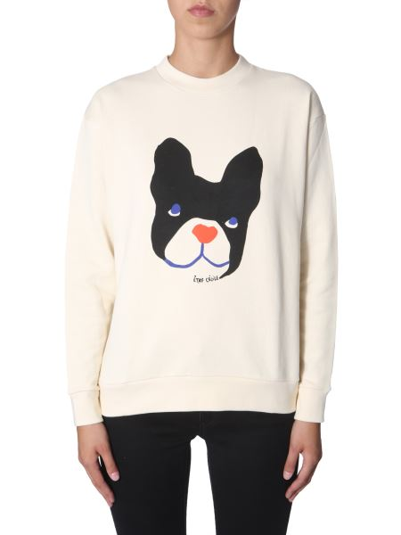 Être Cécile - Cotton Sweatshirt With Big Dog Print