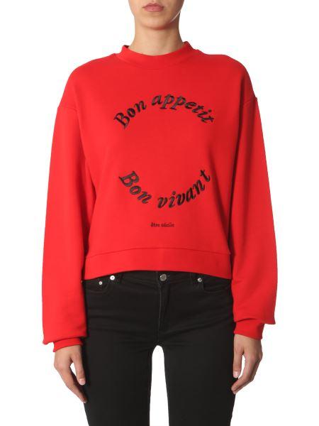 Être Cécile - Cotton Sweatshirt With Bon Apetit Embroidery And Side Zip