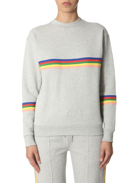 Être Cécile - Round Neck Cotton Sweatshirt With Rainbow Bands