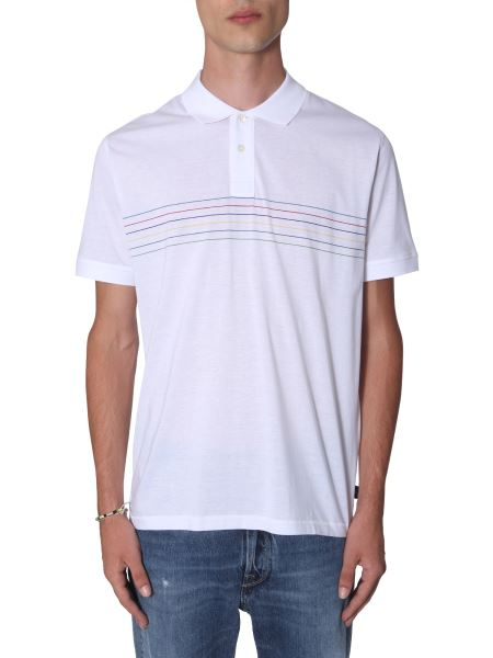 Ps By Paul Smith - Cotton Jersey Polo Shirt With Striped Print