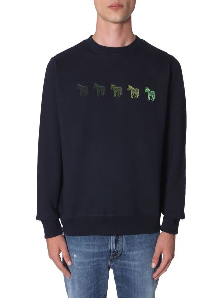 Ps By Paul Smith - Zebra Embroidered Regular Fit Cotton Sweatshirt