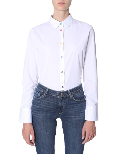 Ps By Paul Smith - Stretch Cotton Shirt With Printed Cuffs