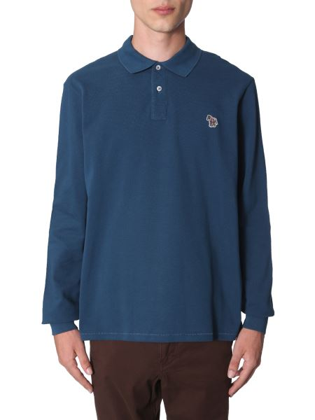 Ps By Paul Smith - Long Sleeve Regular Fit Cotton Piquè Polo Shirt With Zebra Patch