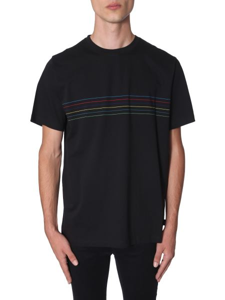 Ps By Paul Smith - Regular Fit Cotton Jersey T-shirt With Striped Detail