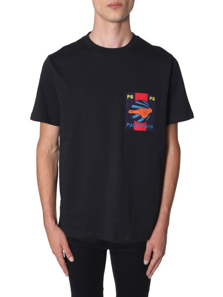 Ps By Paul Smith - Cotton T-shirt With Cheetah Print Pocket