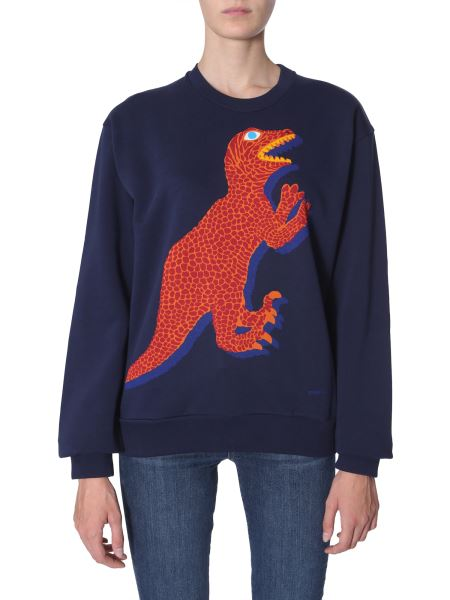 Ps By Paul Smith - Round Neck Dino Print Cotton Sweatshirt