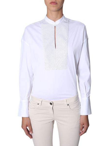 Brunello Cucinelli - Cotton Shirt With Embroidery