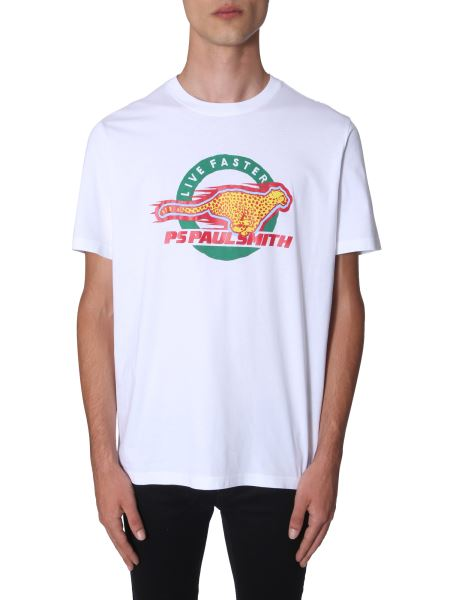 Ps By Paul Smith - Regular Fit Cotton T-shirt With Cheetah Logo Print