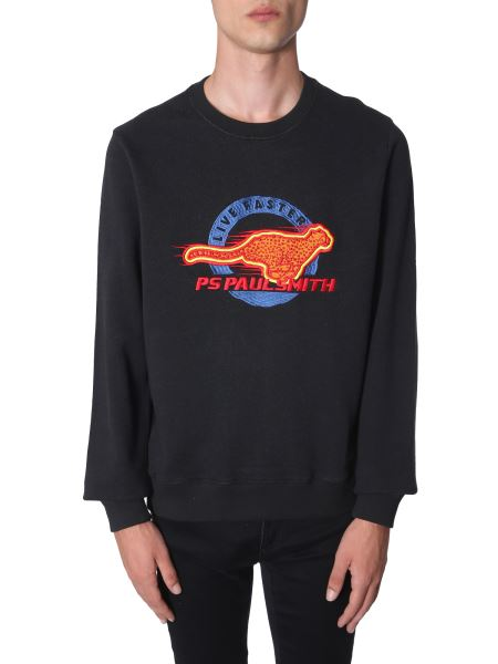 Ps By Paul Smith - Crew Neck Cotton Sweatshirt With Cheetah Embroidery