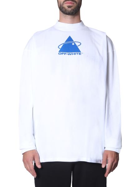 "Off-white - ""triangle Planet"" Round Neck Cotton T-shirt"
