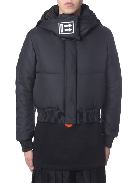Off-white - High Neck Down Jacket With Hood And Logo Patch