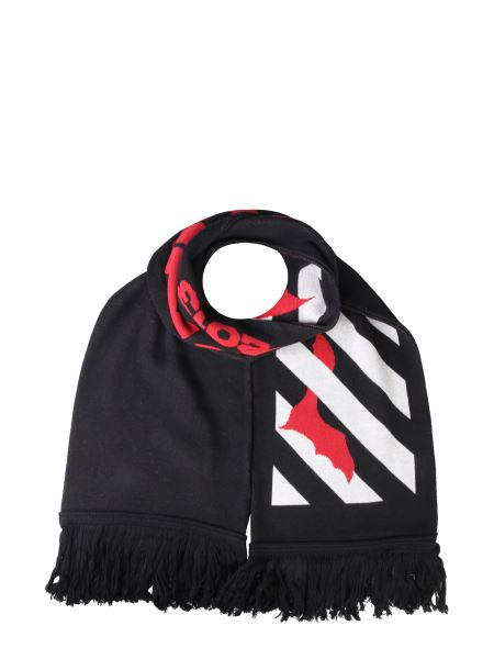 Off-white - Bats Scarf With Fringes And Logo