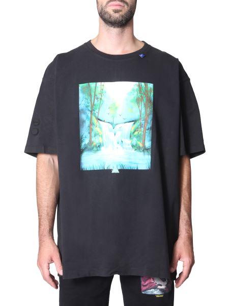 "Off-white - ""waterfall"" Round Neck Cotton T-shirt"