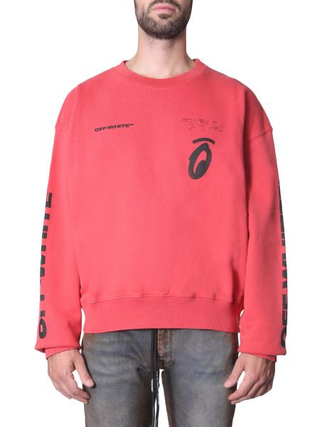 "Off-white - ""splitted Arrows"" Round Neck Cotton Sweater"