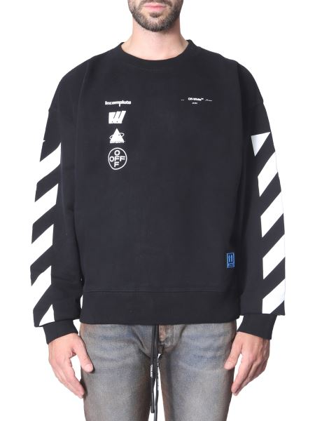 Off-white - Cotton Round Neck Sweatshirt With Print