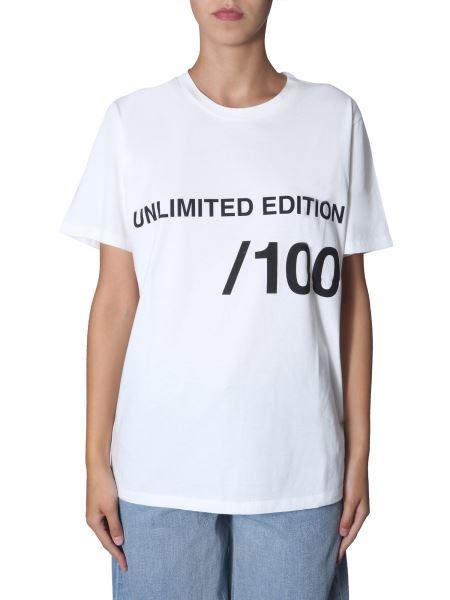 Mm6 Maison Margiela - T-shirt Girocollo In Cotone Con Stampa Logo