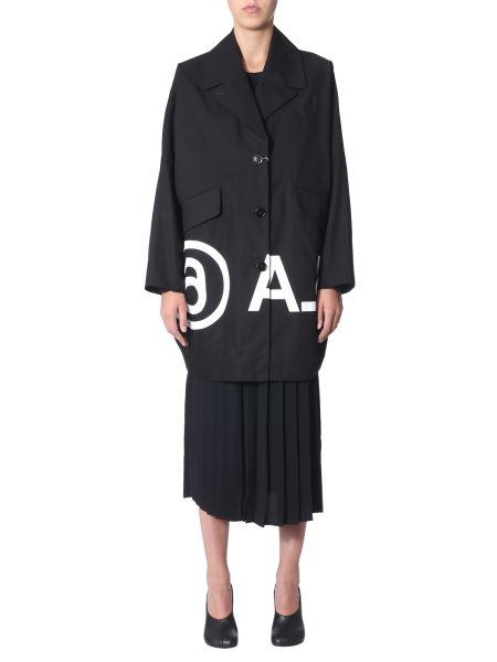 Mm6 Maison Margiela - Cappotto In Cotone Con Logo Invertito