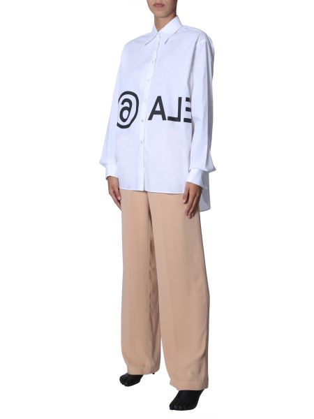 Mm6 Maison Margiela - Oversized Fit Cotton Shirt With Inverted Logo