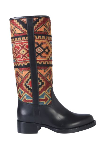 Etro - Leather Boot With Jacquard Detail
