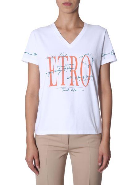 Etro - T-shirt Scollo A V In Cotone Con Stampa Logo