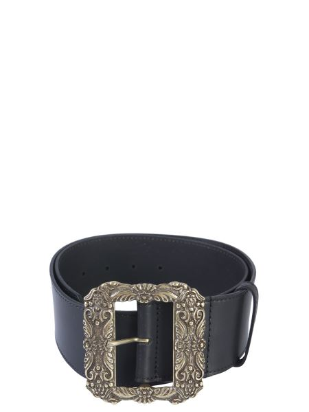 Etro - Leather Belt With Metal Buckle