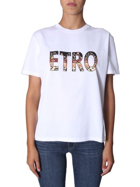 Etro - Round Neck Cotton T-shirt With Logo Print