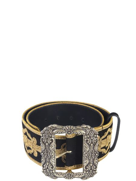 Etro - Embroidered Metal Buckle Leather Belt