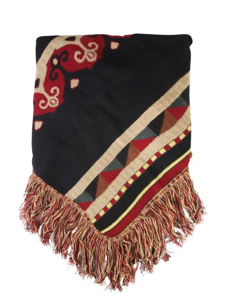 Etro - Jacquard Mixed Wool Scarf With Fringes
