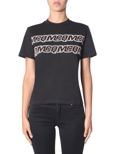 Mcq Alexander Mcqueen - T-shirt Rock Style Con Logo Ripetuto
