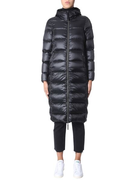 """Parajumpers - Long """"leah"""" Down Jacket With Shiny Nylon Hood"""