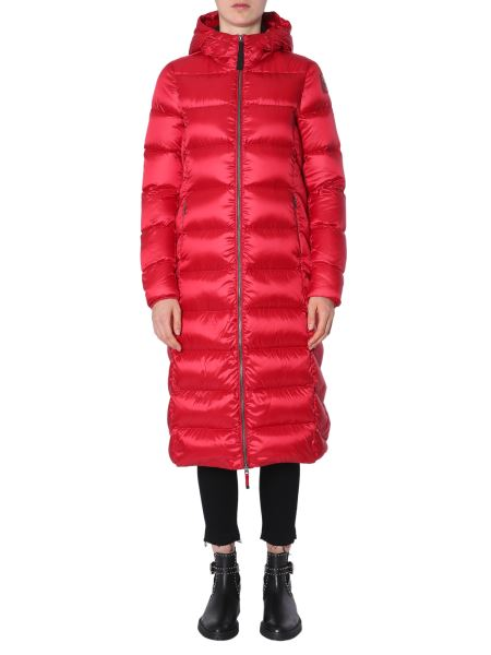 "Parajumpers - Long ""leah"" Down Jacket With Shiny Nylon Hood"