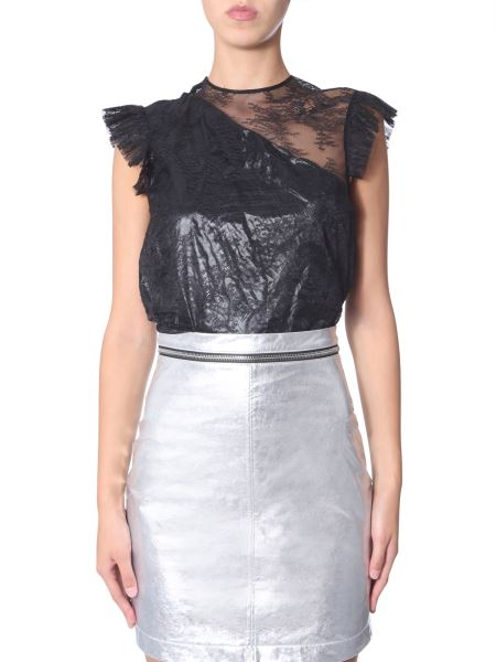 Philosophy Di Lorenzo Serafini - Leather And Lace Top With Ruches