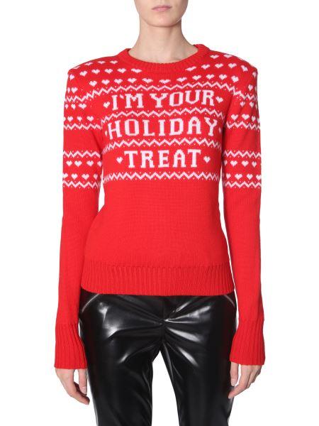 Philosophy Di Lorenzo Serafini - Crew Neck Virgin Wool Sweater With Holiday Print