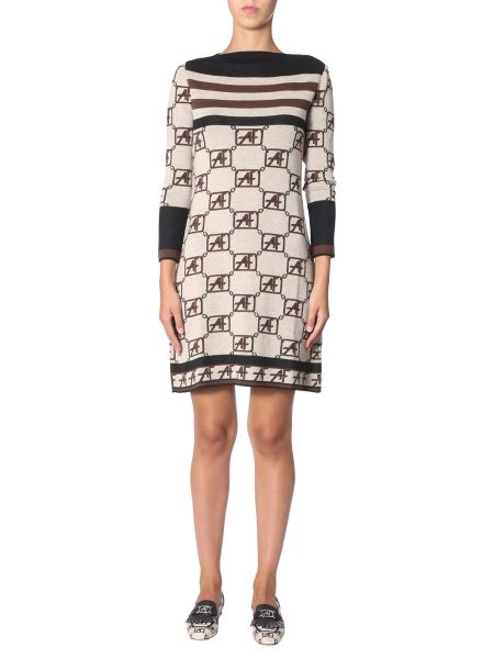 Alberta Ferretti - Wool Knit Dress With Stripes And Story Logo