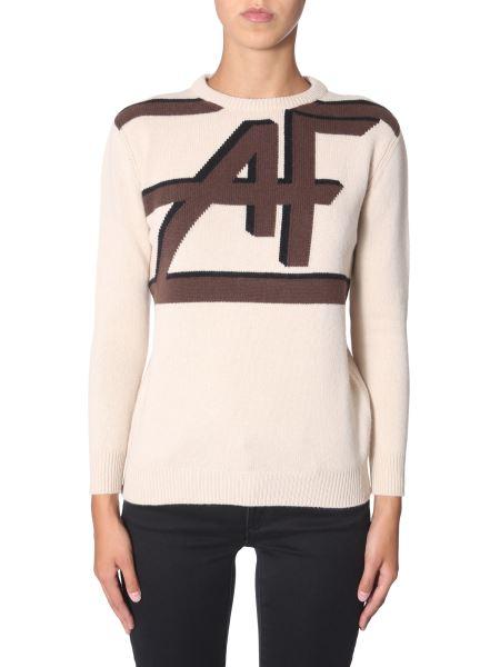 Alberta Ferretti - Crew Neck Wool And Cashmere Sweater With Logo