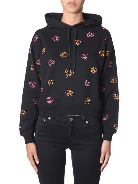 Mcq Alexander Mcqueen - Hooded Sweatshirt With Mini Swallow