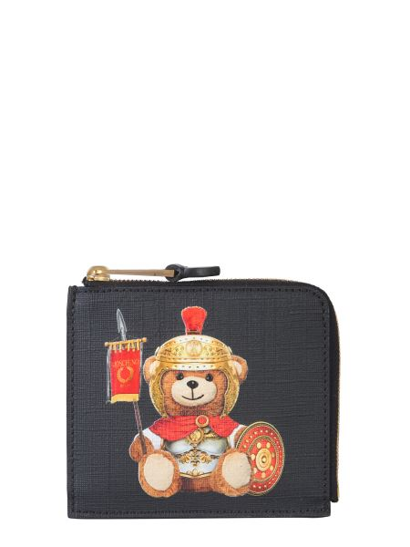 Moschino - Leather Zip Wallet With Roman Teddy Bear
