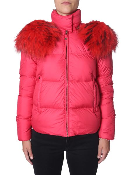 """Mr & Mrs Italy - """"airborne Puffer Cherry"""" Down Jacket With Fur Bordered Hood"""