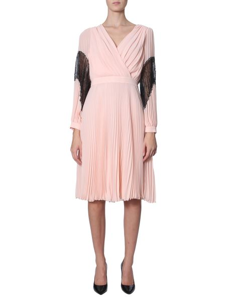 Boutique Moschino - Pleated Dress With Lace Inserts