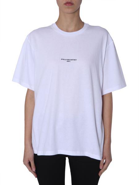 Stella Mccartney - Round Neck Cotton T-shirt With Micro Logo Print