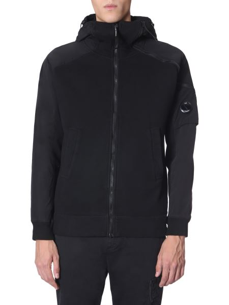 C.p. Company - Hooded Sweatshirt With Zip And Diagonal Detail