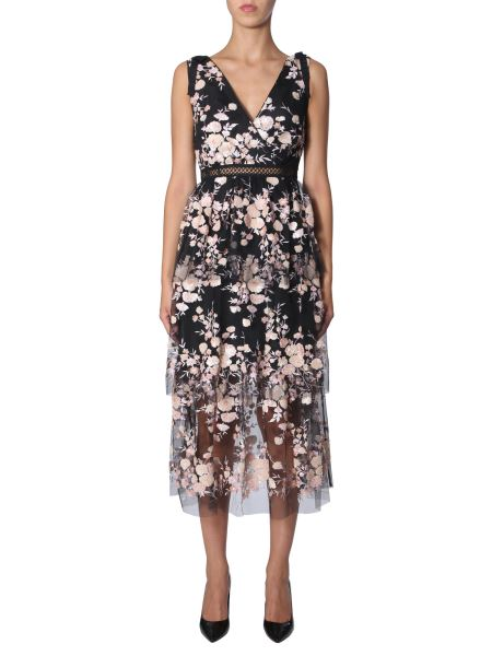 Self-portrait - Tulle Dress With Floral Embroidery