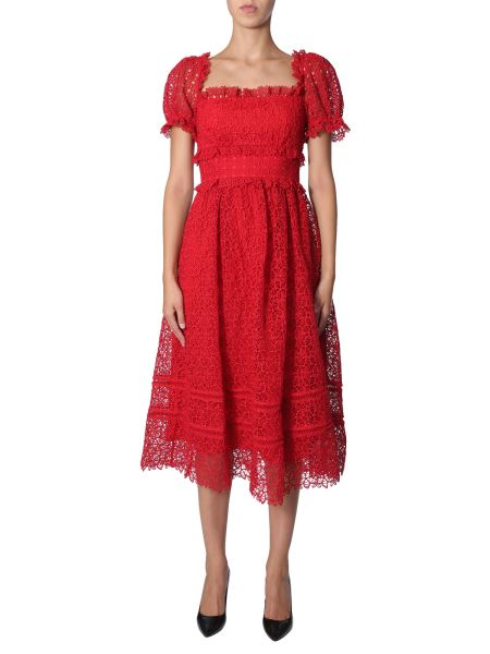 "Self-portrait - ""hibiscus Guipure"" Dress With Balloon Sleeve"