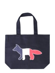 MAISON KITSUNÉ - BORSA SHOPPING TRICOLOR FOX