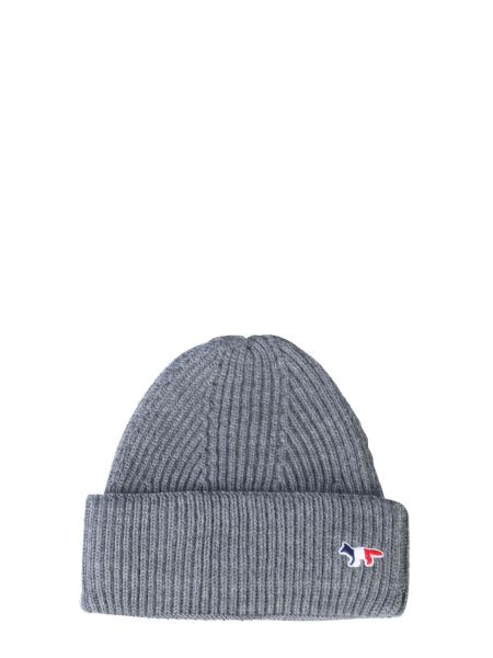 Maison Kitsuné - Knitted Hat With Tricolor Fox Patch