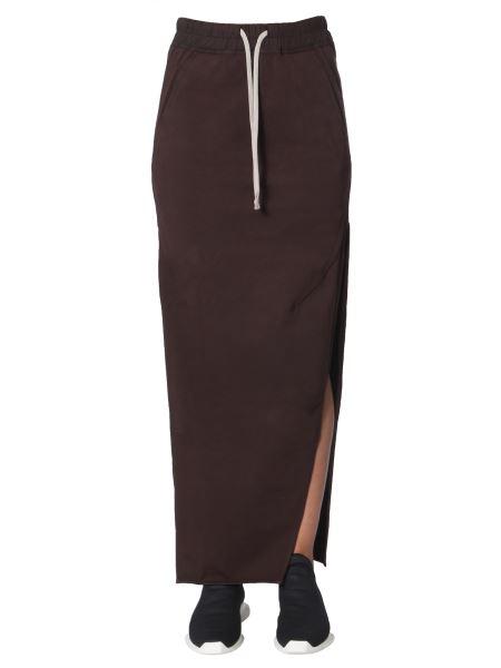 Rick Owens Drkshdw - Long Cotton Slit Skirt
