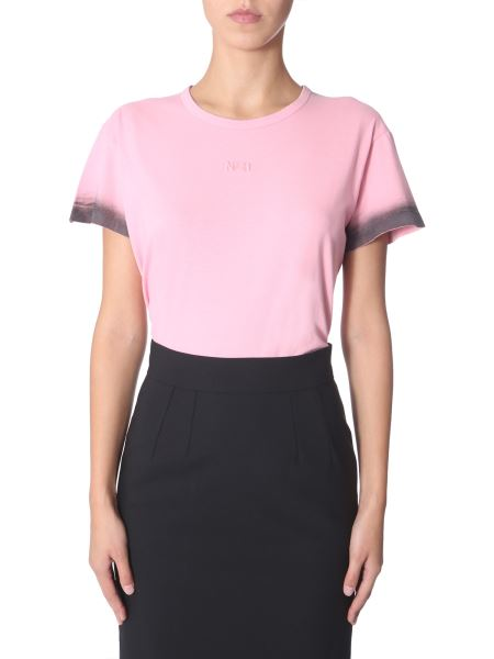 N°21 - Round Neck T-shirt With Logo And Ombré Details