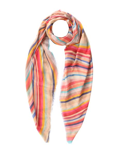 Paul Smith - Swirl Striped Mixed Silk And Wool Scarf